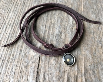 Tiny Silver Round Mustard Seed Faith Leather Wrap Bracelet