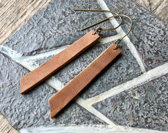 Camel Brown Angle Cut Leather Drop Earrings