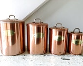 Vintage Copper Canister Set Canisters
