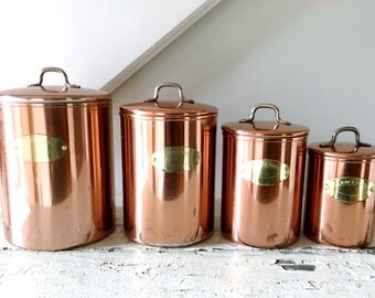 Vintage Copper Canister Set Canisters