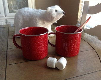 2 Large Red Enamel Mugs with Teeny White Speckles Perfect For Christmas Cocoa