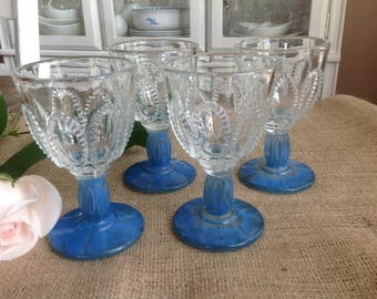 Set of 4 Vintage Stemware Blue Feet Cordials with Dotted Teardrops