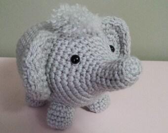 Elephant- Crochet Amigurumi Stuffed Animal Plush- Gray