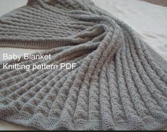 Knitting Pattern for Baby Blanket- PDF- DIY-Baby Blanket Knitting Pattern PDF- Download Easy Knit Pattern- Online Knitting Pattern - Blanket