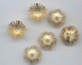 Four vintage shiny gold large filigree metal bead caps - 16 x 7 mm