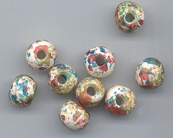 16 beautiful Greek ceramic beads with large holes - spattered with turquoise, dark rose, and gold - 10.5-11 mm