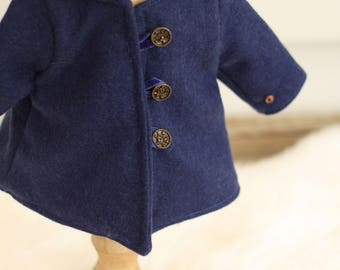 18 inch doll clothes, doll coat, waldorf doll clothes doll jacket, winter doll coat navy blue doll coat, wool doll coat, wool doll clothes