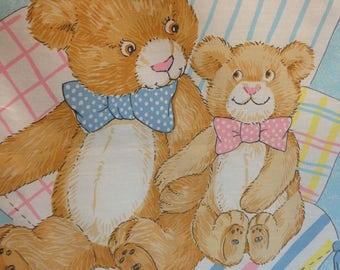 Teddy Bear Precious Moment Panel, Teddy bear panel, Vintage precious moment fabric