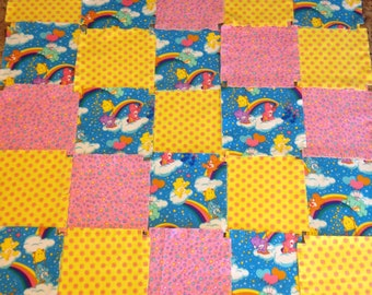"Care Bear baby quilt kit, 75 pre cut  Fringed  Rag quilt kit, 8.5"" squares, 3 layers of flannel,  ready to sew, finished is approx 35x35"