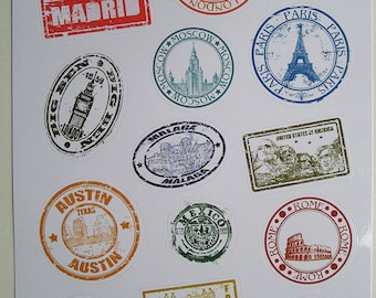 Postmark Sticker Decorative Sticker Laptop Suitcase Sticker Masking Sticker - 1 Sheet 14 Pcs