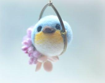 Soft sculpture wool bird jewelry, needle felt bird pendant necklace, blue bird on flower hoop pendant, whimsical jewelry, gift under 25