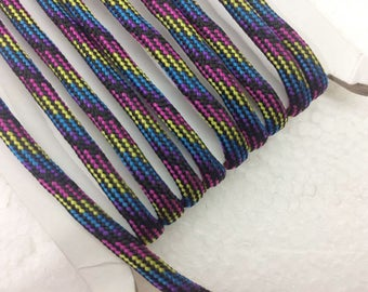 paracord 1.1 Yards (1 meter) multicolor Bracelet cord, Decorative Cord, braided cords, Parachute Round Cord, Colorful cord, 4mm wide