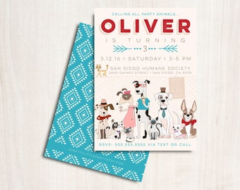 Hipster Dogs & Cats Invitation in blue - Puppy and Kitty Adoption Party - Printable Party Supplies
