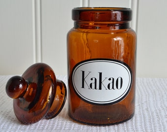 Lidded cocoa jar, vintage Swedish kitchen storage, amber apothecary glass , seventies kitchenalia, please view all details