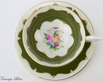 ON SALE  Coalport Moss Green Vintage Teacup And Saucer, English Teacup and Saucer, Wedding Gift,  ca.1948-1952