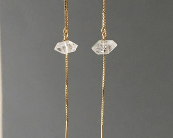 Herkimer Diamond Box Chain Threader Earrings in Gold or Silver
