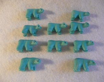 Synthetic Turquoise Grizzly Bear Fetish Beads  10 pcs.