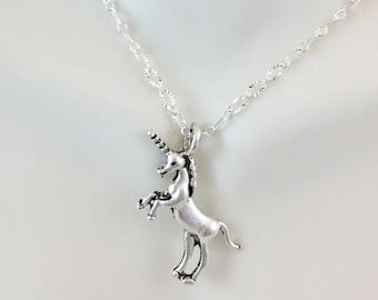 Unicorn Charm Necklace-Unicorn on Stainless or Silverplated brass chain-Unicorn pendant necklace-Unicorn Jewelry-Unicorn Necklace