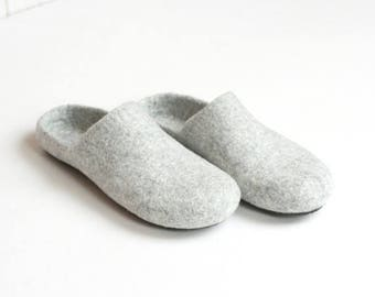 Wool clogs - felted slippers for women or men - natural house shoes - Father day gift - made to order - unisex slippers - women slippers
