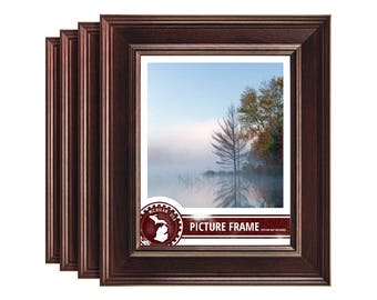 """Craig Frames, 8.5x11 Inch Mahogany Red Picture Frame Set, Revival 2"""" Wide, Set of Four  (FM97MA8511L-4)"""
