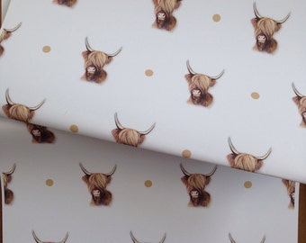 Highland cow wrapping paper, gift wrap, for cow lovers, for highland cow lovers, scottish cow, read description