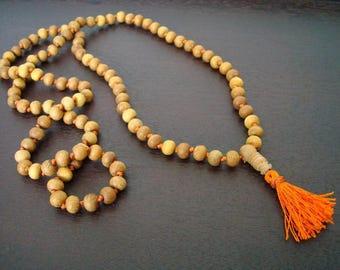 Hand Knotted Indian Sandalwood Mala // 108 Bead Sandalwood Necklace // Yoga, Buddhist, Jewelry, Prayer Beads