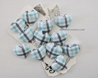 12 origami balloon hearts | wedding hearts | origami gifts ||| paper heart favors || best man gift || gift for him -blue gray plaid