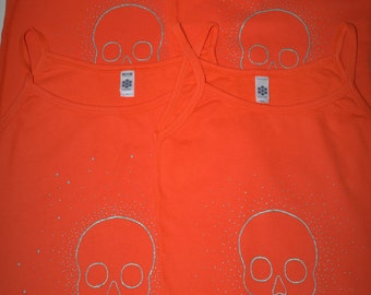 Aqua glitter skulls on super soft cotton, camisole tank. Skull, gliiter, orange, turquoise, blue, shimmer, festival, camping, beach