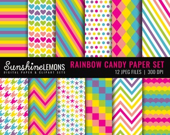 Rainbow Candy Digital Scrapbooking Paper Set - COMMERCIAL USE Read Terms Below