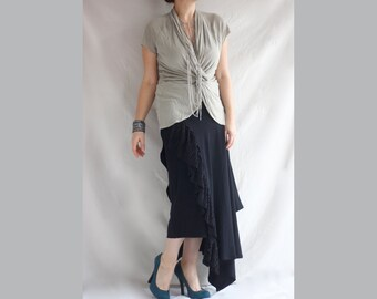 Layered Ruffles Maxi Skirt Asymmetric Ruffled Bohemian Skirt Oversized Layered Skirt Extravagant Ruffled Skirt Long Layered Ruffles Skirt