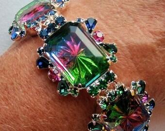 30% OFF SALE - Vibrant Tourmaline, Fuchsia and Montana Sapphire Bracelet - Vintage Inspired