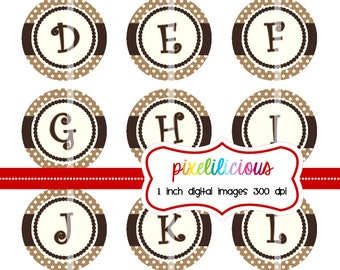 Bottle Cap Image Sheet - Instant Download - 104 Chocolate Brown and Ivory -  1 Inch Digital Collage - Buy 2 Get 1 Free