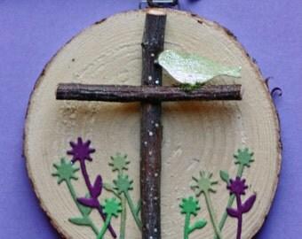 Cross Christmas, holiday, ornament, birch wood slice, round, art on wood, birch  branches, bird, holy cross, natural, green, purple