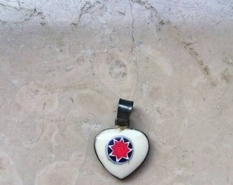 Vintage heart shaped glass Murano pendant, sterling silver 925, 70s ,handmade, valentine gift