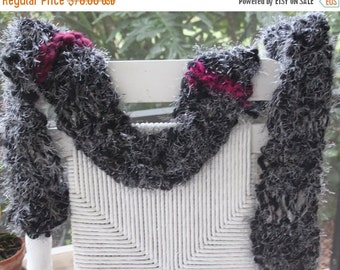 CLEANING SHOP 33% OFF Sale Hand Knit Scarf, in Black with White Eyelash and Maroon Ribbons of Super Soft Handspun Hand Dyed Yarn