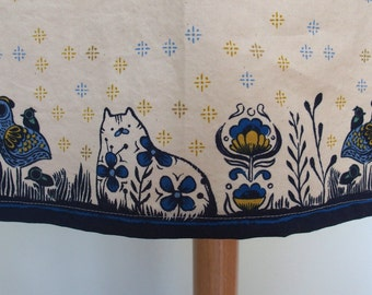 Navy, Mustard Yellow, Blue Cotton Apron with Pocket and Towel Loop and Cats, Roosters, Border Print, Light weight, From Porto with Love