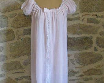 Size medium pale pink nightie with short sleeves and lace trim