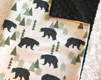 Geometric Bears Baby Boy Blanket, MINKY Blanket, Woodland Minky Baby Blanket, Cream and Black Blanket, Ready to Ship, Baby Shower Gift