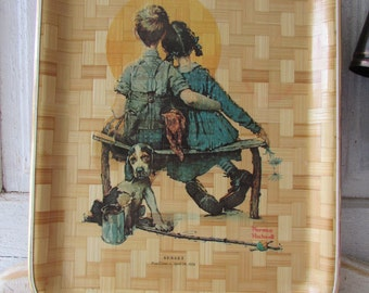 Vintage bamboo serving tray with Norman Rockwell print
