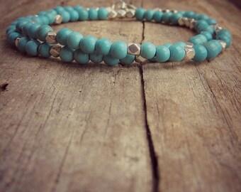 Turquoise Friendship Bracelet • Double Turquoise Bracelet • Bridesmaid Bracelet • Minimal Bracelet • Beaded Bracelet • Dainty Jewelry