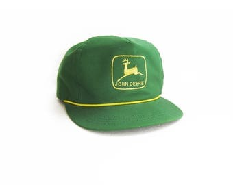 vintage baseball hat / John Deere / tractors / strap back / 1970s green John Deere trucker hat strap back