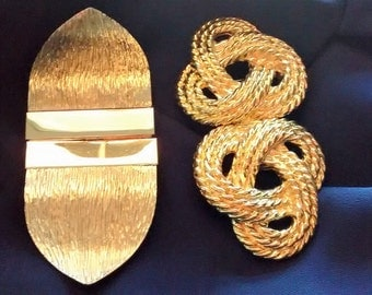 Two 1980's Gold Toned Dress Buckles