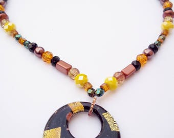 Black and gold glass pendant necklace