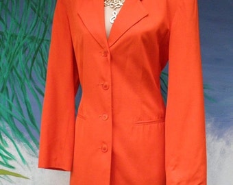 1/2 OFF Vintage 1980's Vibrant Hugo Buscati Bright Orange 2 Piece Suit,  Professional, Preppy, 2 pc, sz S