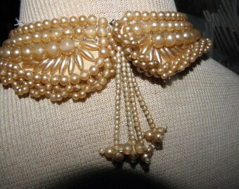 Hand Sewn 50's Golden Peachy Lustrous Multi Shaped Pearl Choker Necklace on Fabric w/ Tassels