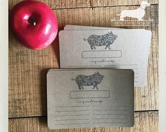 CLEARANCE! 4x6 This 'Lil Piggy Recipe Cards (Qty 13) -- (Rustic, Pig, Farmhouse Chic, Bacon, Vintage-Style, Discounted, Brown Kraft, Cute)