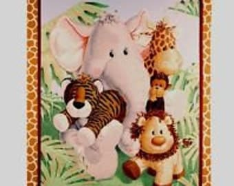 """Jungle Babies Nursery Print By  Patty Reed for Fabric Traditions 100% Cotton Fabric Panel 44"""" Wide Sold By The Yard"""
