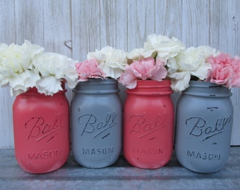 Painted and Distressed Ball Mason Jars- Coral and Gray-Set of 4-Flower Vases, Rustic Wedding, Centerpieces