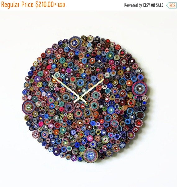 Sale, Unique Wall Clock,  Paper Art,  Home and Living, First Anniversary Gift, Recycled Clock, Home Decor, Decor and Housewares