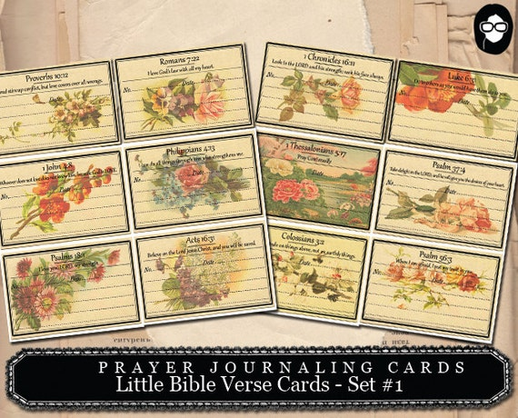 Prayer Journaling - Little Bible Verse Cards #1 - 2  Page Instant Download - scripture art, bible journaling kit, printable verses